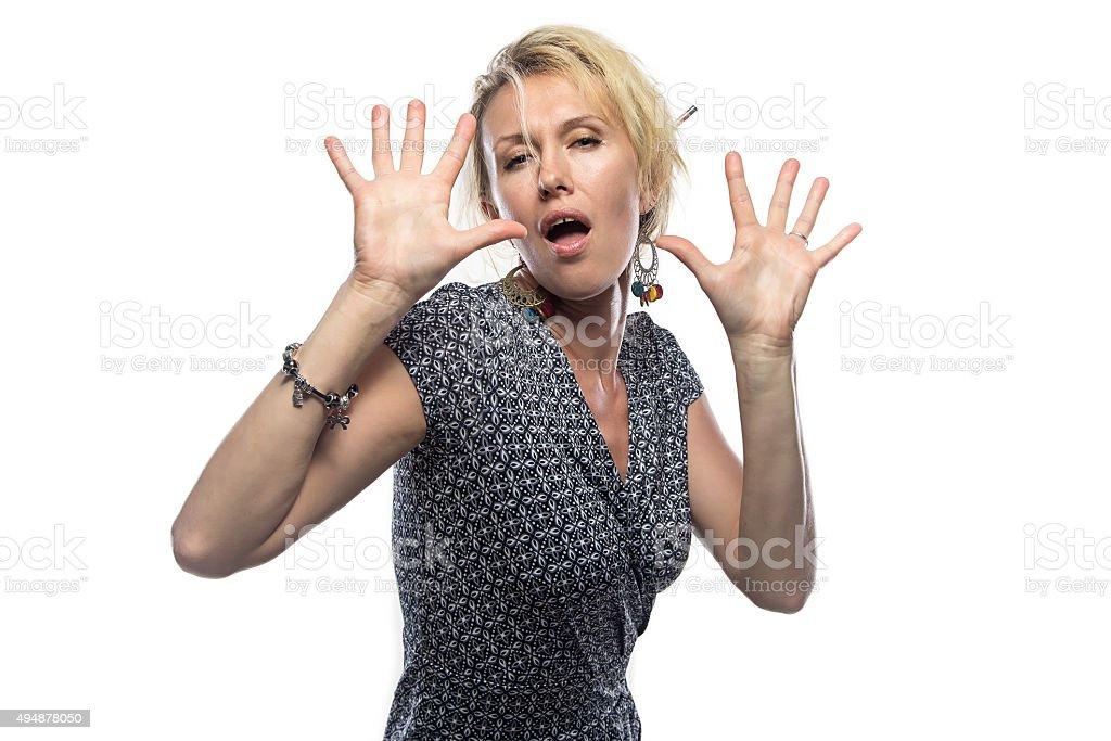 Portrait of happy woman on white stock photo