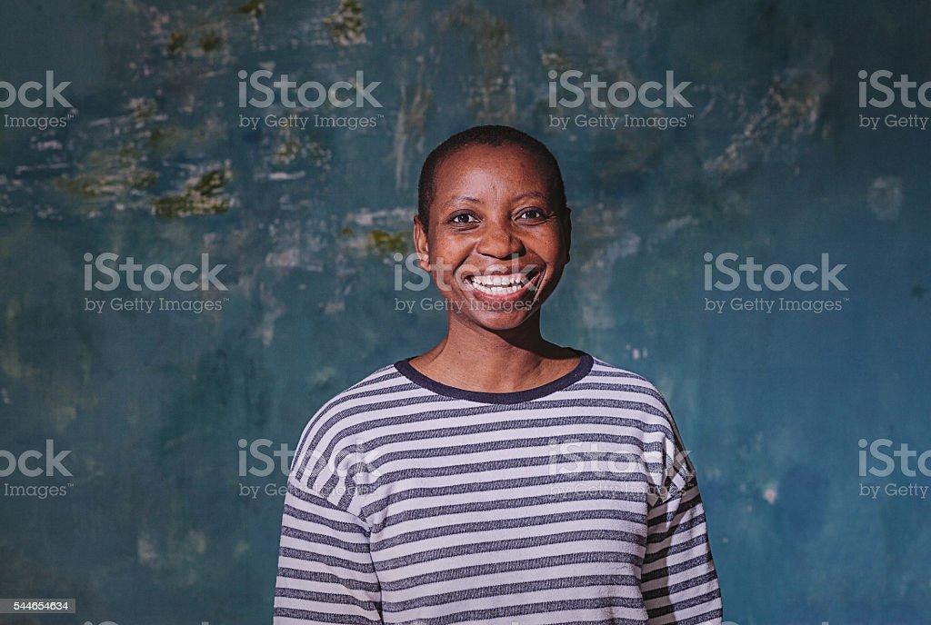 Portrait of happy woman stock photo