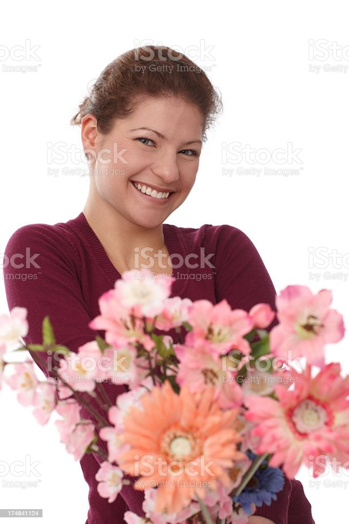 Portrait of happy woman with flowers royalty-free stock photo