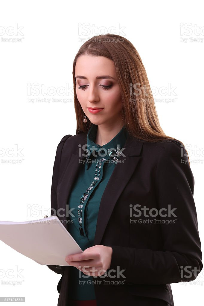 Portrait of happy young business woman isolated on white backgro royalty-free stock photo