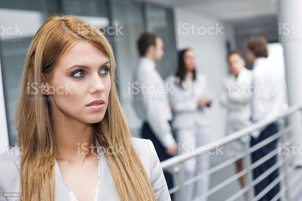 Portrait of happy young businesswoman stock photo