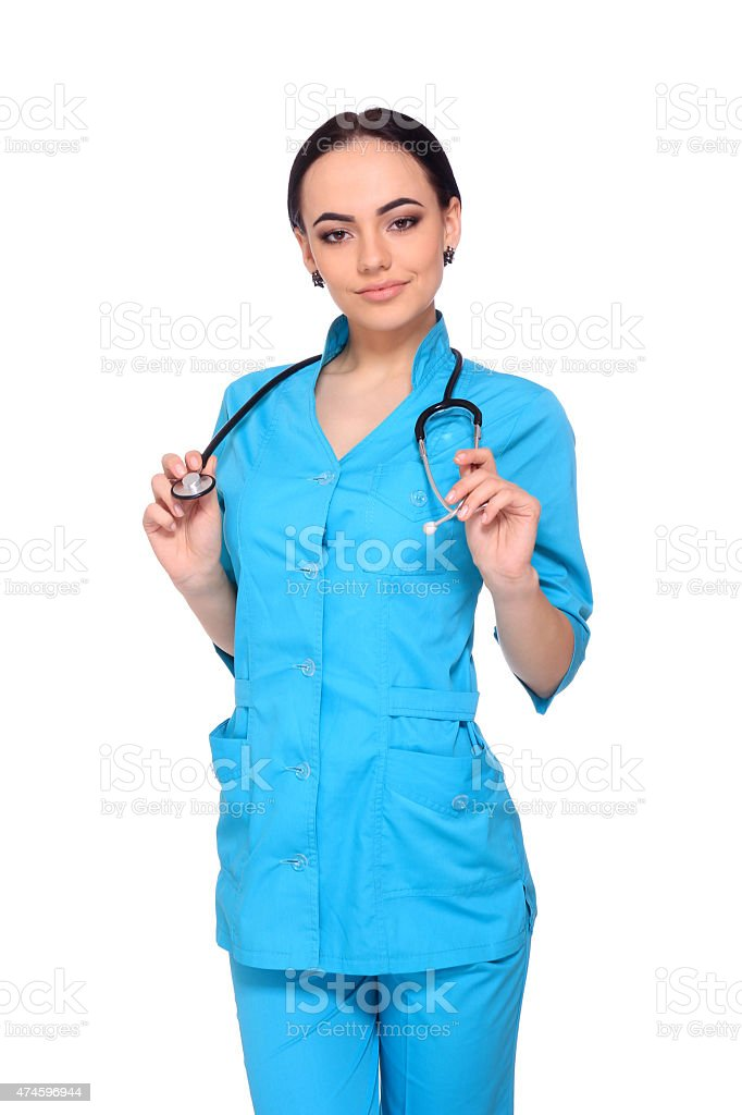 Portrait of happy young doctor woman standing royalty-free stock photo