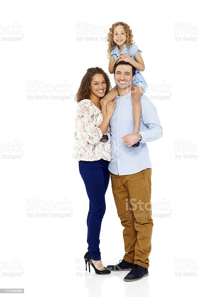 Portrait of happy young family over white royalty-free stock photo
