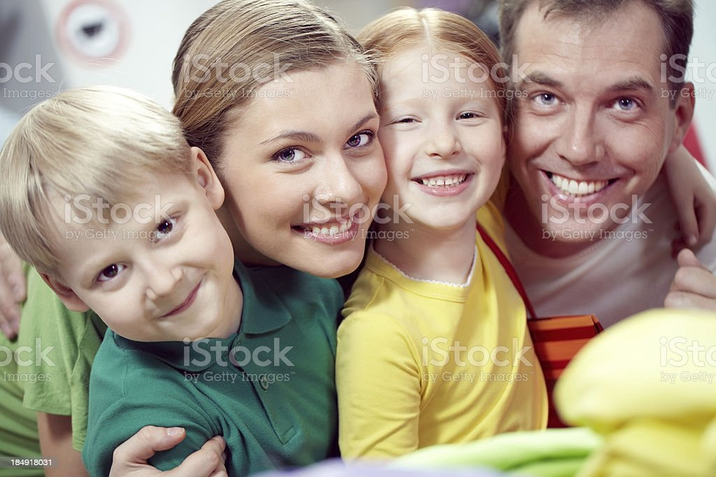 Portrait of happy young family royalty-free stock photo