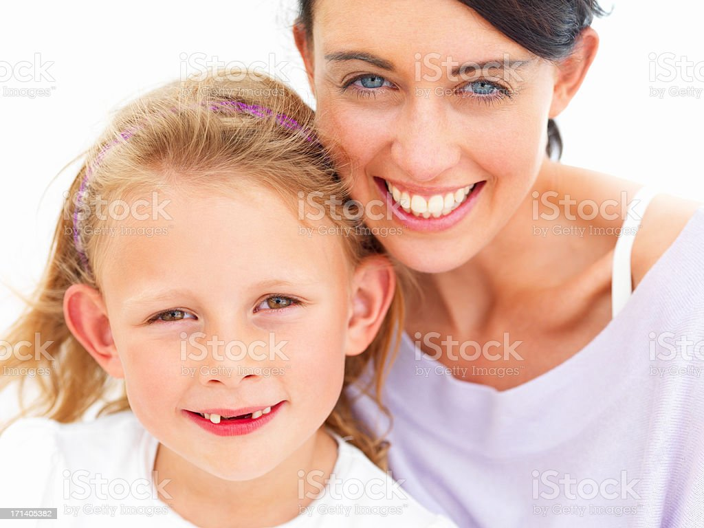 Portrait of happy young mother with her daughter stock photo