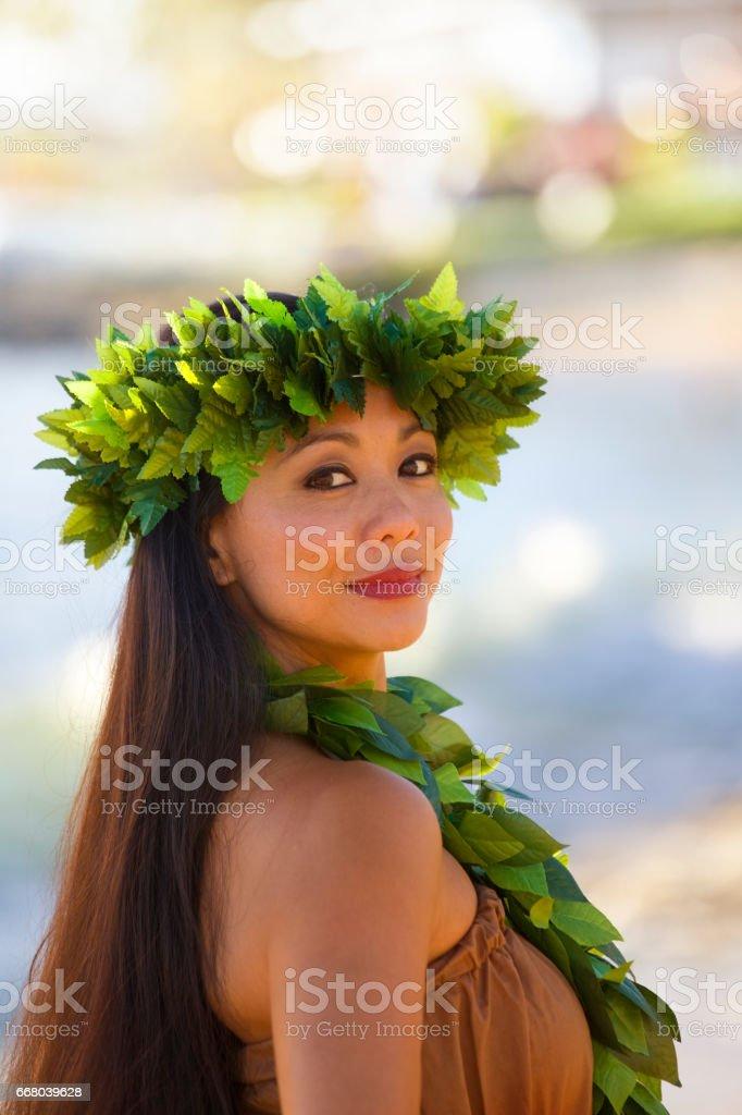 Portrait of Hawaiian Hula Dancer on the Beach stock photo