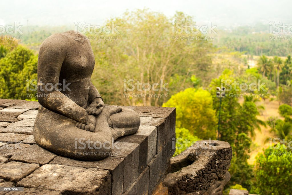 Portrait of Headless Buddha from the side stock photo