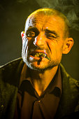 Portrait Of Heavy Smoker