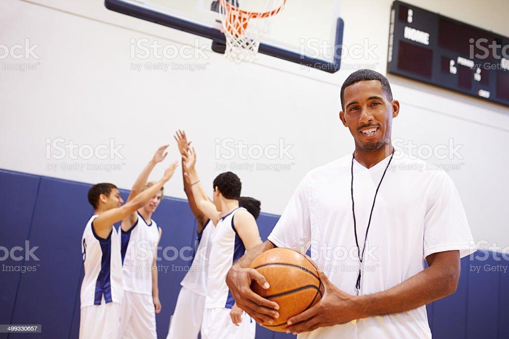 Portrait Of High School Basketball Coach stock photo