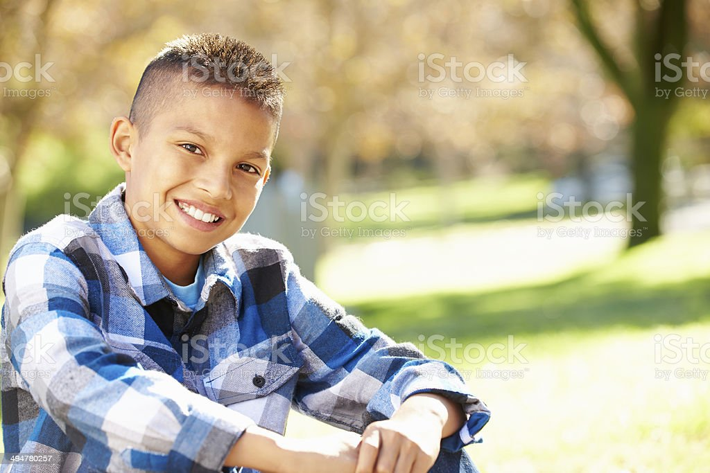Portrait Of Hispanic Boy In Countryside stock photo