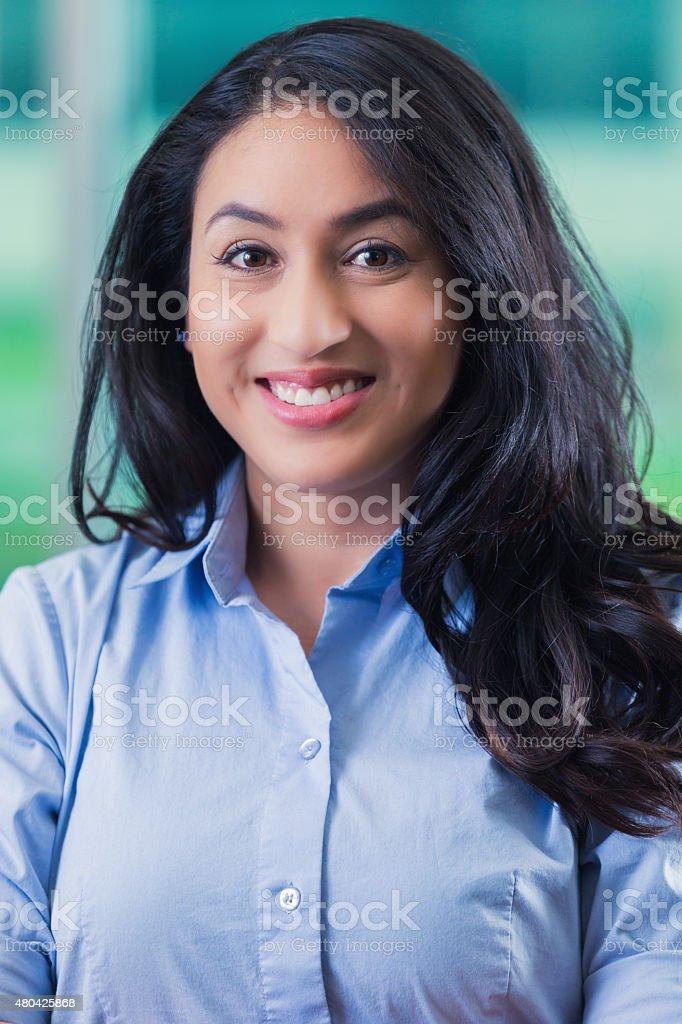 Portrait of Hispanic businesswoman for social media profile stock photo