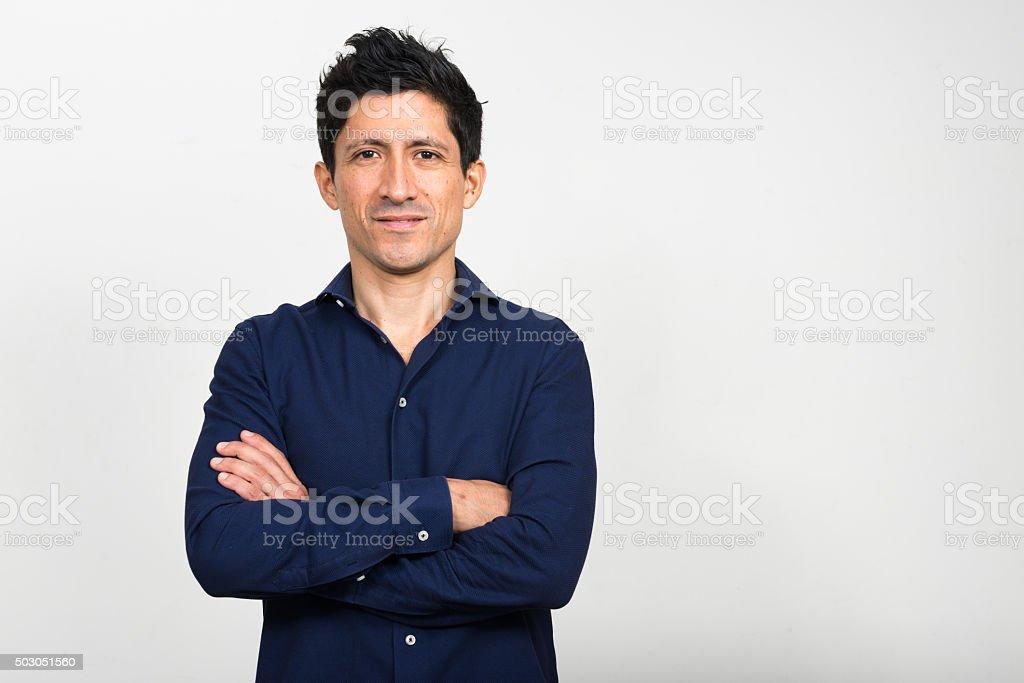 Portrait of Hispanic man stock photo