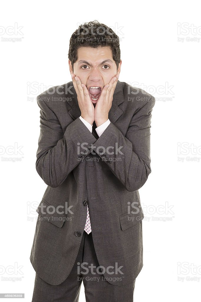 Portrait of hispanic man with shocked facial expression stock photo