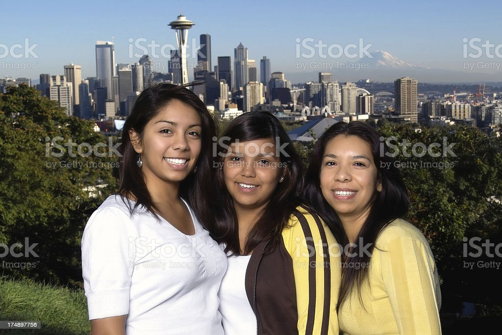 Portrait of Hispanic Mother and Daughters in Seattle royalty-free stock photo