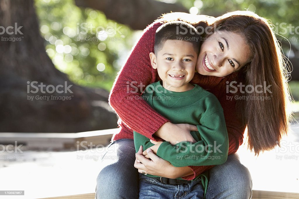 Portrait of Hispanic mother and son stock photo