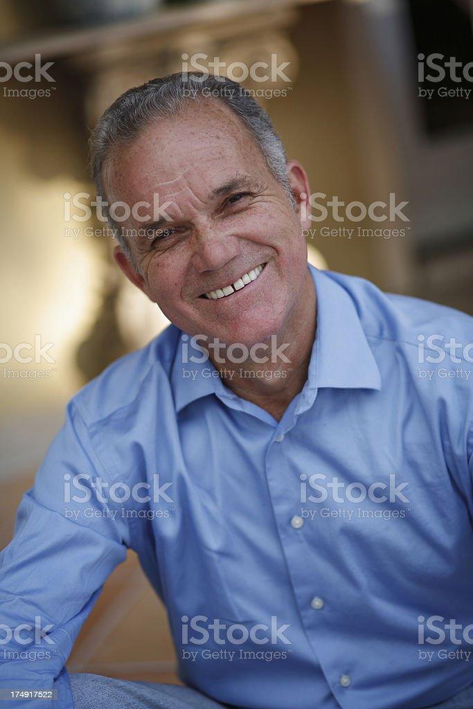 Portrait of Hispanic Senior man smiling stock photo