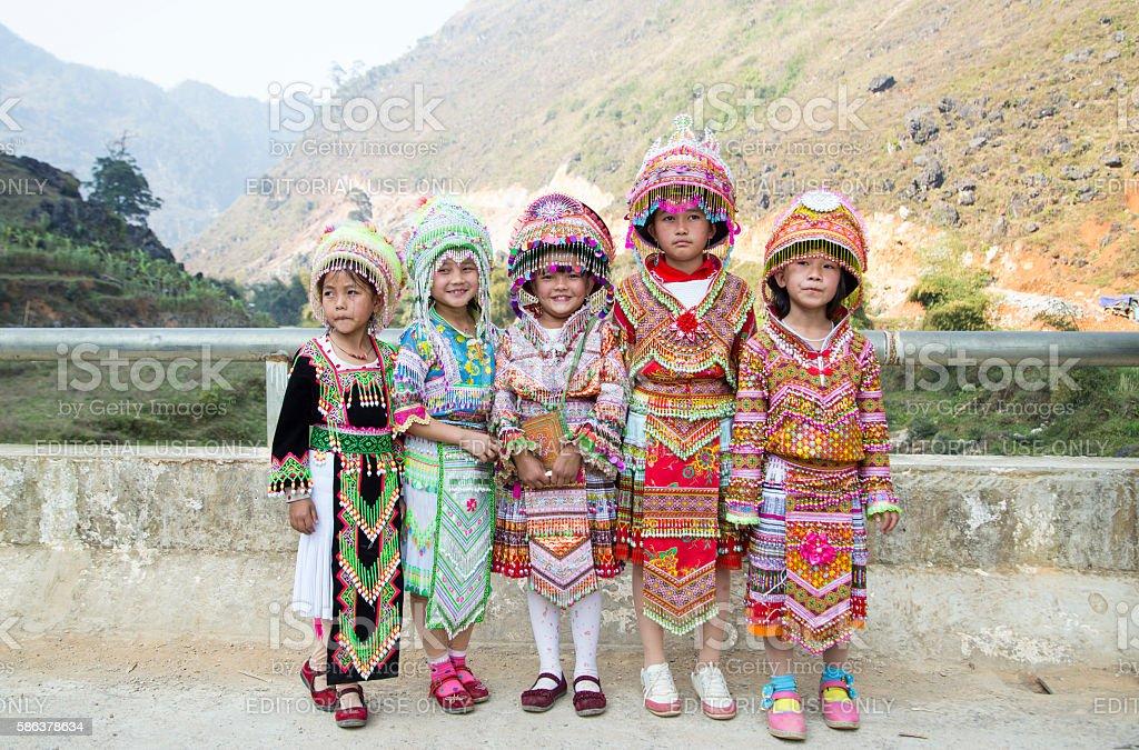 Portrait of H'mong little girls stock photo