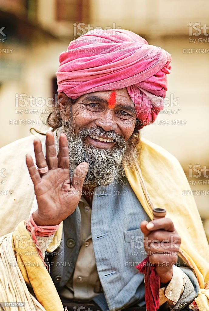 Portrait of Holy Man in traditional Indian clothing - Udaipur royalty-free stock photo