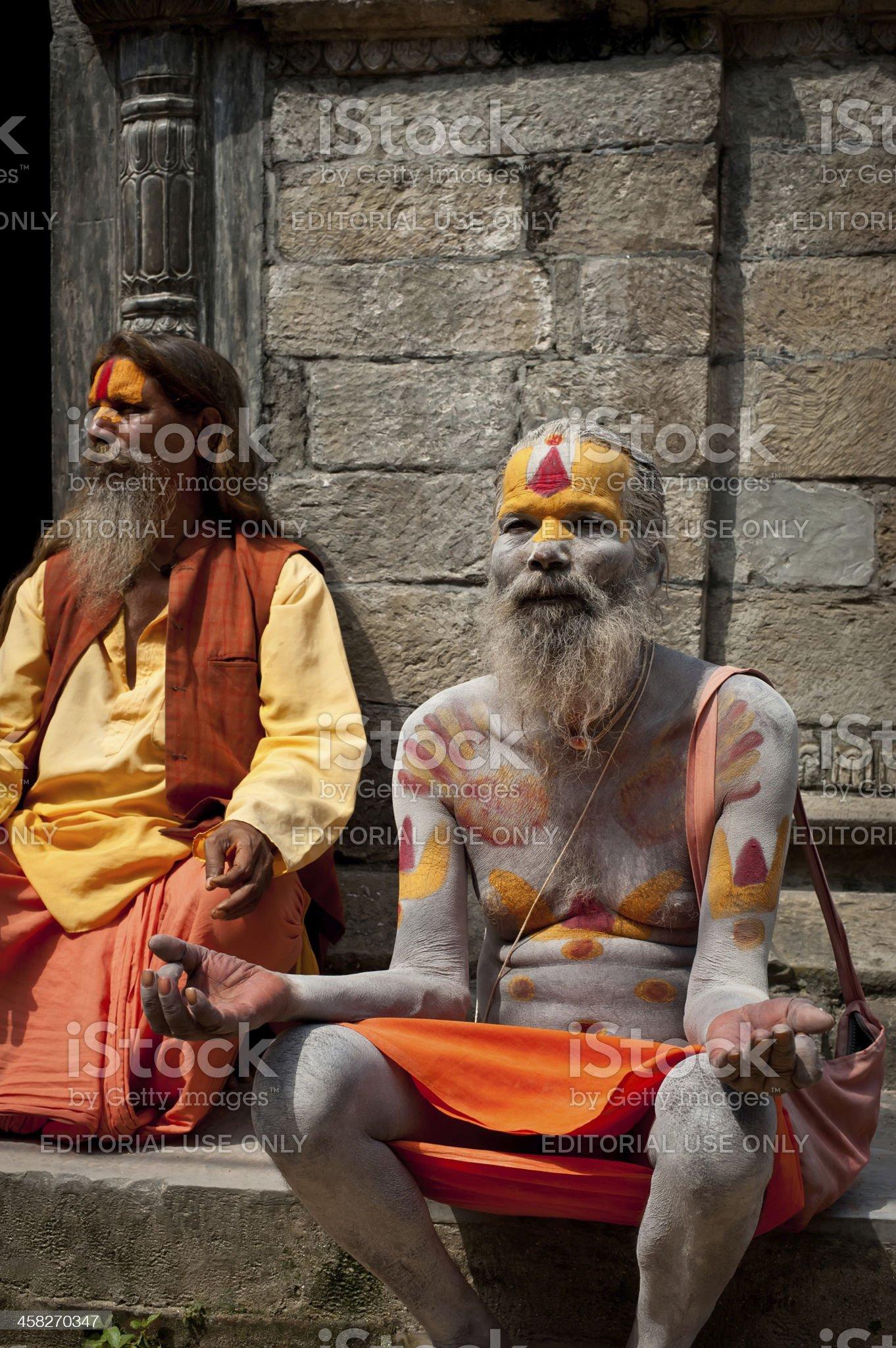 Portrait of Holy Sadhu men royalty-free stock photo