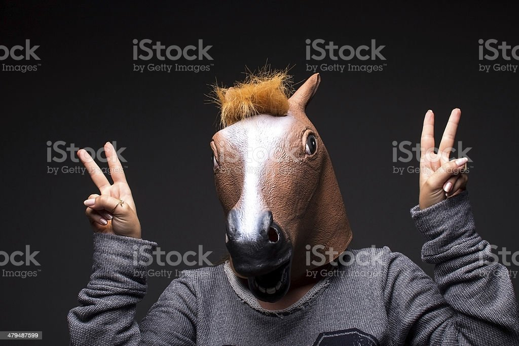 Portrait of horse head people royalty-free stock photo