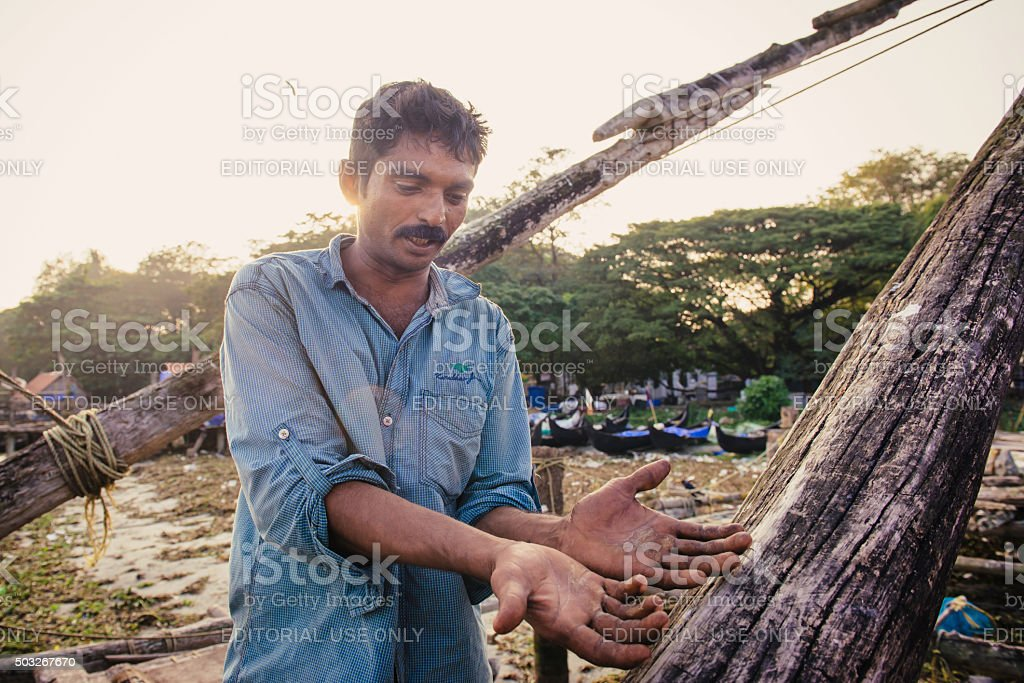 Portrait of indian fisherman stock photo