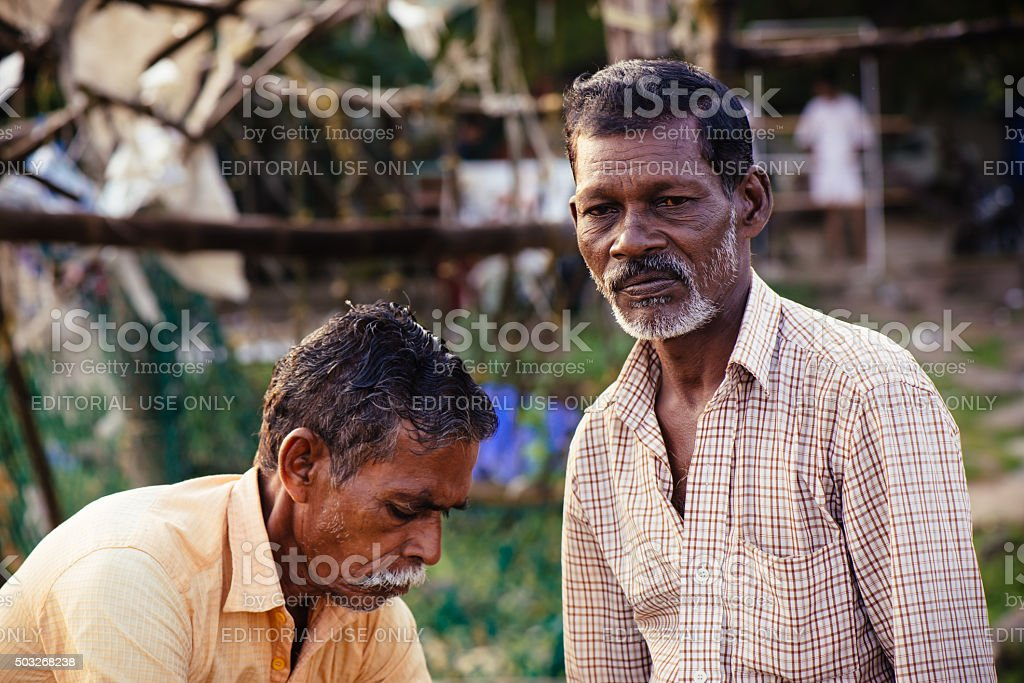 Portrait of indian fishermen stock photo