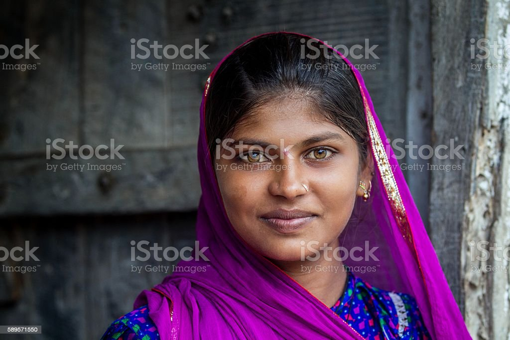Portrait of Indian Girl, Rajasthan, India. stock photo