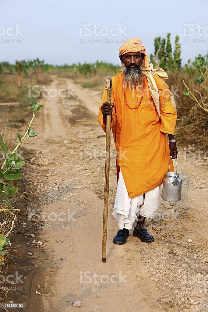 Portrait of Indian holy man royalty-free stock photo