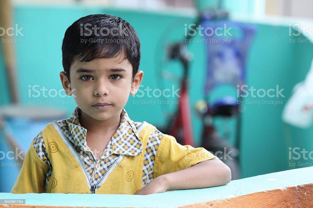 Portrait of Indian Little Boy stock photo