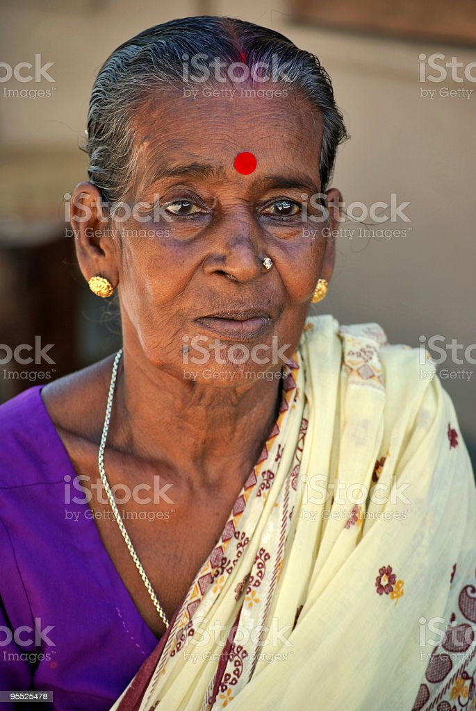 Portrait of Indian rural senior women in sari royalty-free stock photo
