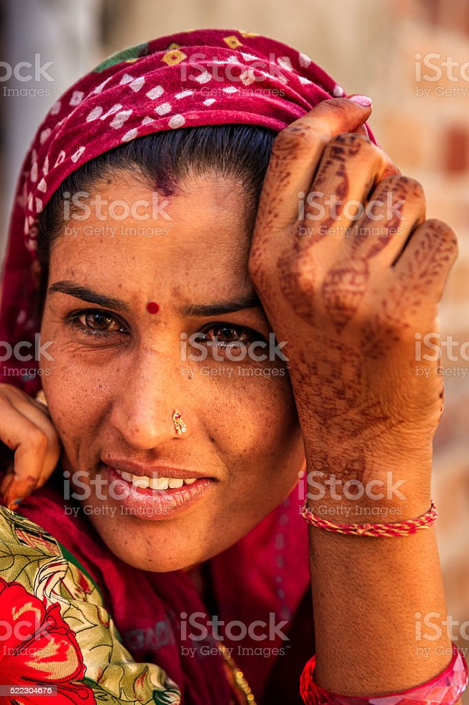Portrait of Indian woman, Bishnoi village near Jodhpur stock photo