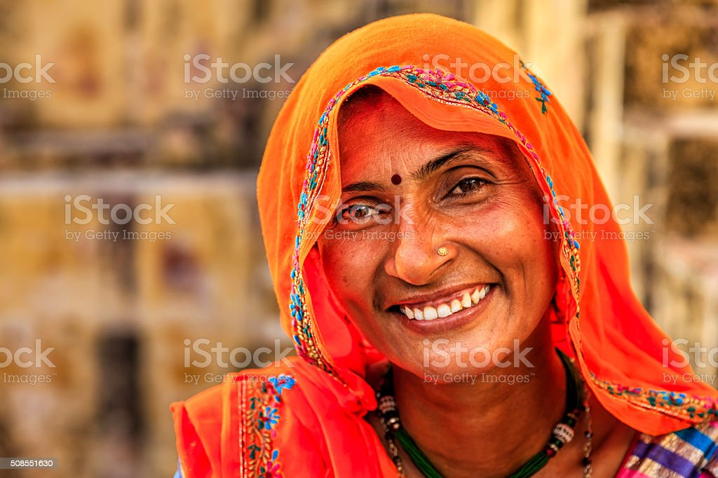 Portrait of Indian woman in village near Jaipur, India stock photo