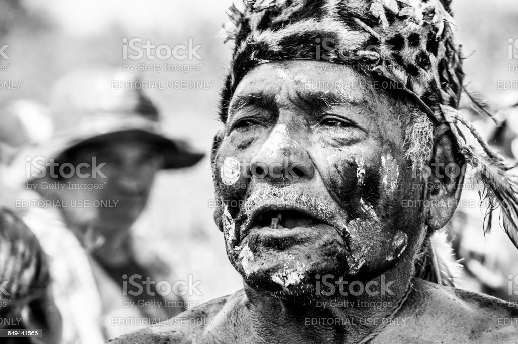 Portrait of Indigenous chief in Paraguayan community stock photo