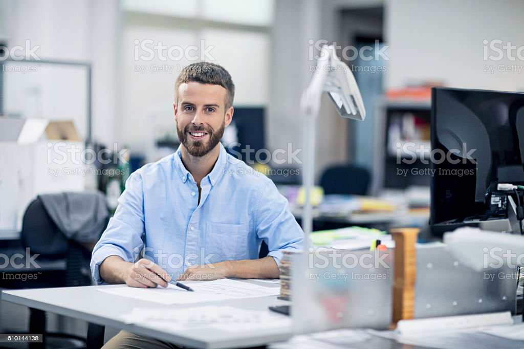Portrait of Industrial designer in the office stock photo