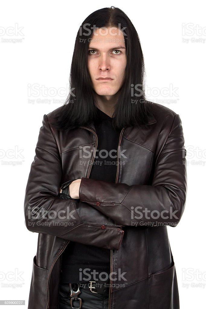Portrait of informal man with long hair stock photo
