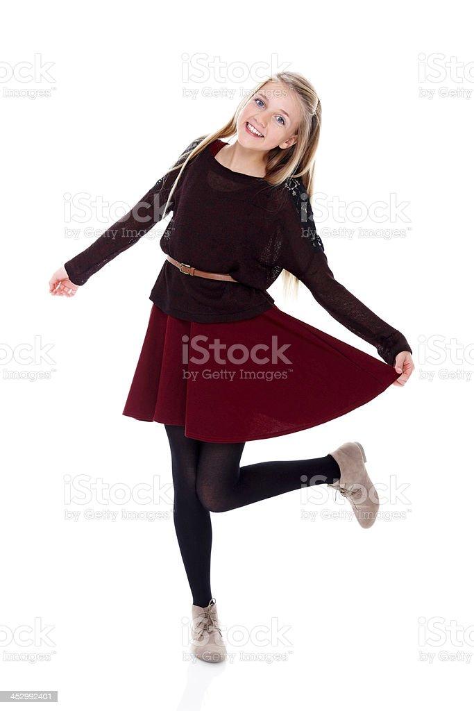Portrait of innocent little girl standing on white royalty-free stock photo