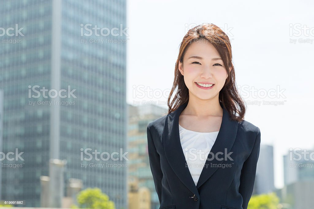 Portrait of Japanese business woman stock photo