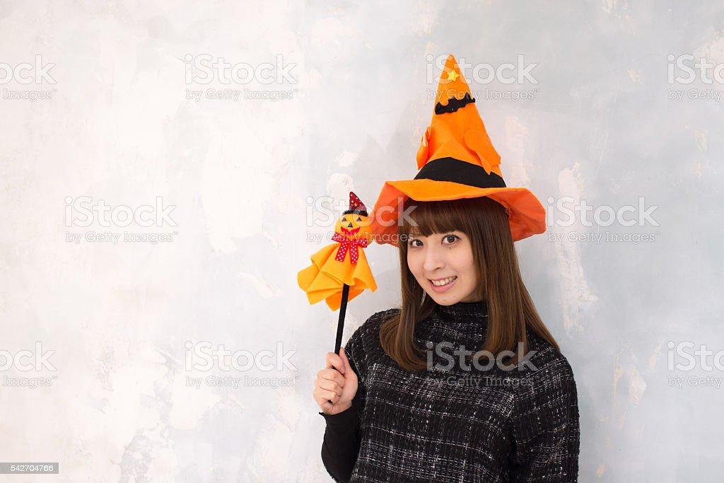 Portrait of Japanese girl dressed for halloween stock photo