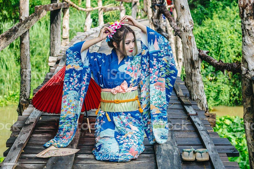 portrait of japanese kimono woman stock photo