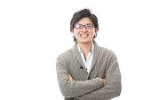 Portrait of Japanese man wearing eyeglasses
