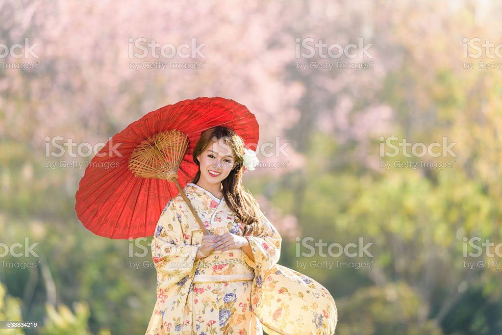 portrait of japanese traditional woman stock photo