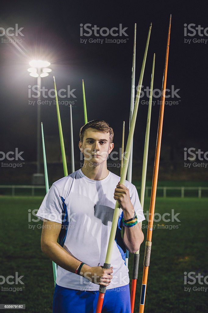 Portrait of Javelin Athlete stock photo