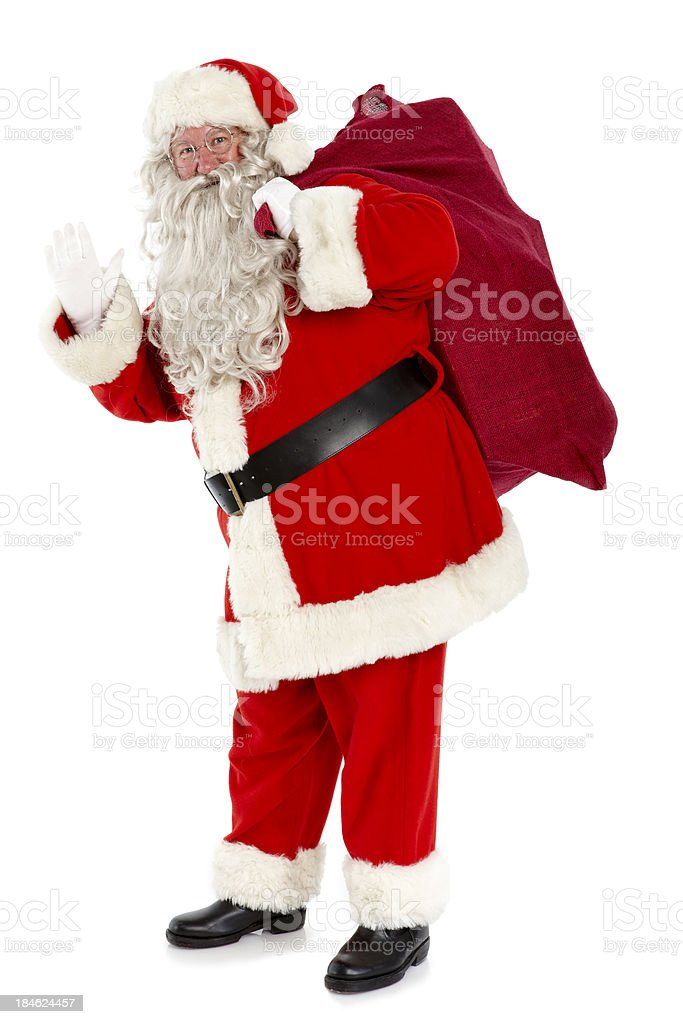 Portrait of jolly Santa with bag on white background. stock photo