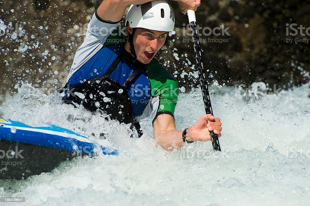 Portrait of kayaker in whitewater royalty-free stock photo