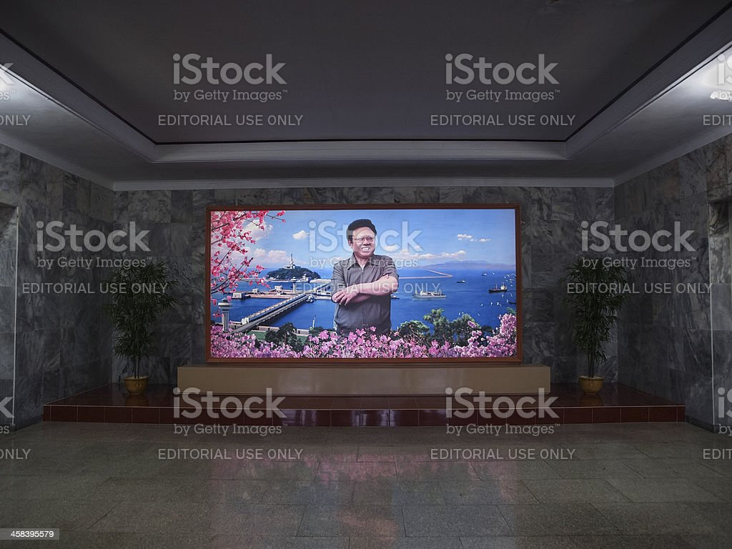 Portrait of Kim Jong Il stock photo