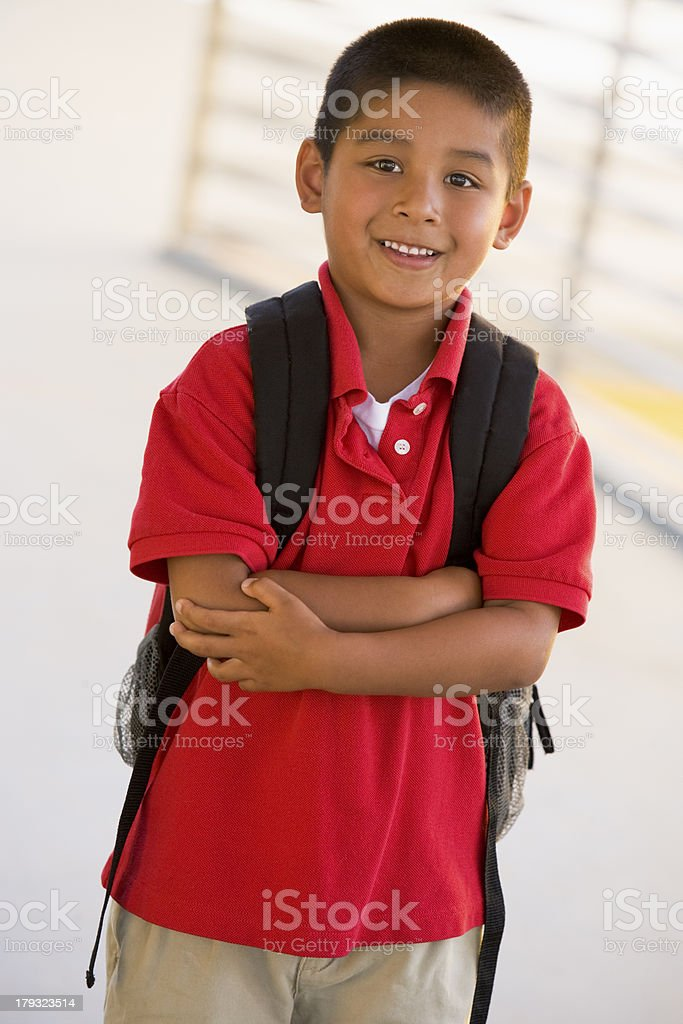 Portrait of kindergarten boy with backpack royalty-free stock photo