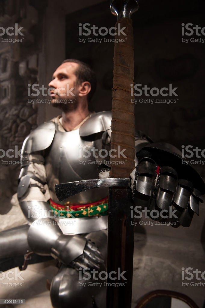 Portrait of knight stock photo