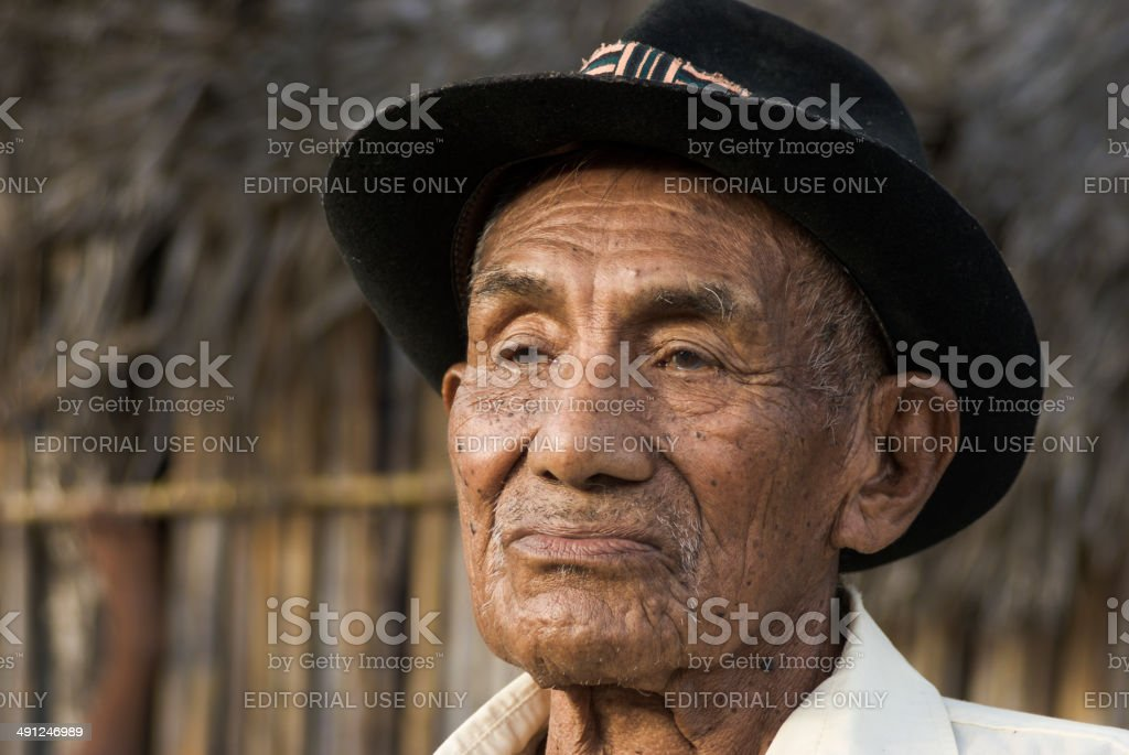 Portrait of Kuna Indian chief in Panama stock photo