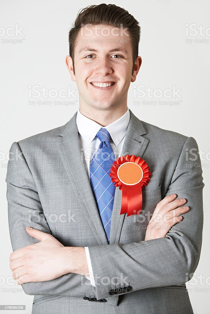Portrait Of Labour Politician Against White Background stock photo