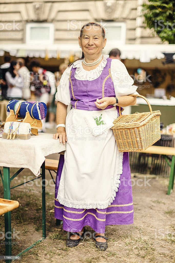 Portrait of lace maker senior woman royalty-free stock photo